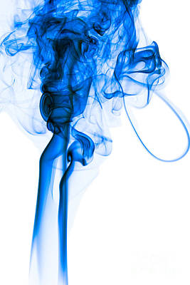 Mood Colored Abstract Vertical Deep Blue Smoke Art 01 Print by Alexandra K