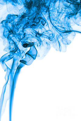 Abstract Vertical Deep Blue Mood Colored Smoke Art 03 Print by Alexandra K