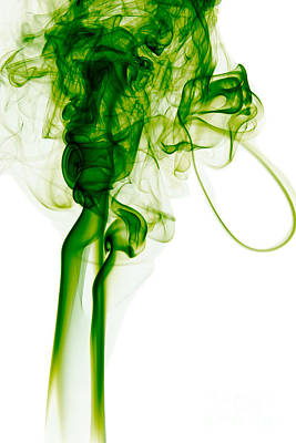 Angels Smoking Painting - Abstract Vertical Green Mood Colored Smoke Wall Art 03 by Alexandra K