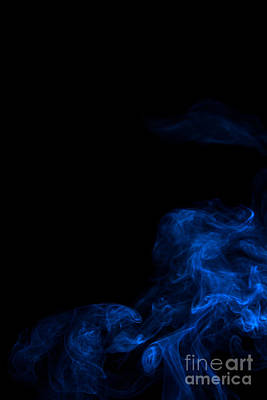 Angels Smoking Painting - Abstract Vertical Paris Blue Mood Colored Smoke Art 02 by Alexandra K
