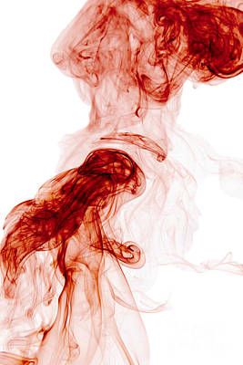 Angels Smoking Painting - Abstract Vertical Blood Red Mood Colored Smoke Wall Art 02 by Alexandra K