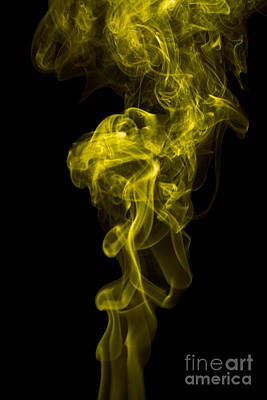 Angels Smoking Painting - Mood Colored Abstract Vertical Yellow Smoke Wall Art 01 by Alexandra K