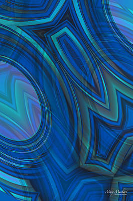 Oval Digital Art - Mood In Blues by Mary Machare