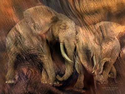Mixed Media - Moods Of Africa - Elephants by Carol Cavalaris