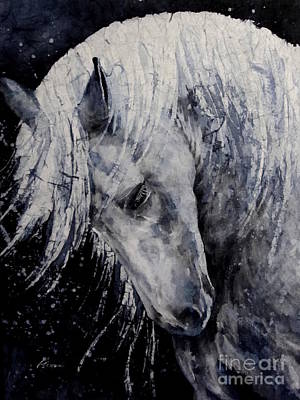 Wild Horse Painting - Moody Blues by Hailey E Herrera