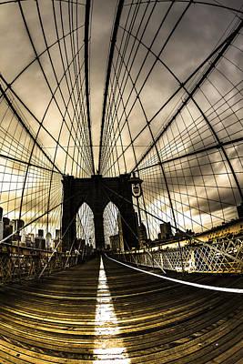 Moody Brooklyn Bridge Art Print by Chris Halford