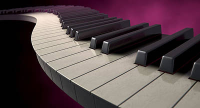 Jazz Digital Art - Moody Curvy Piano Keys by Allan Swart
