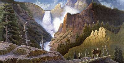 Indian Fine Art Painting - Moody Falls  by Gregory Perillo