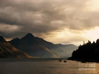 Mountain Sunset Painting - Moody Lake by Pixel  Chimp