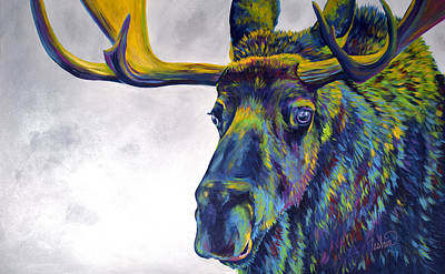 Maine Painting - Moody Moose by Teshia Art