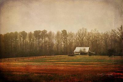 Shed Digital Art - Moody Morning Stillness by Paulette B Wright