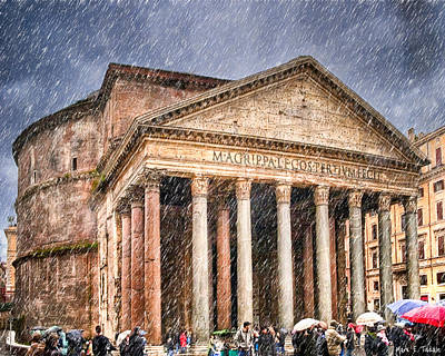 Photograph - Moody Winter Day At The Ancient Pantheon - Rome by Mark E Tisdale