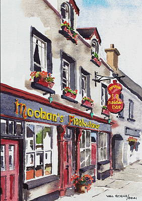 Painting - Moohans Fidddlestone Pub  Belleek  Fermanagh by Val Byrne