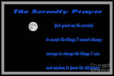Moon - Serenity Prayer - Blue Art Print