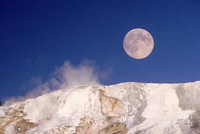 Mammoth Terrace Photograph - Moon & Yellowstone by Mark Newman