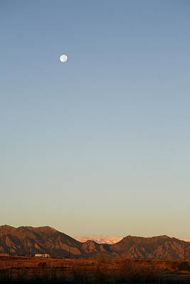 Snow Photograph - Moon Above Flatirons by Marilyn Hunt
