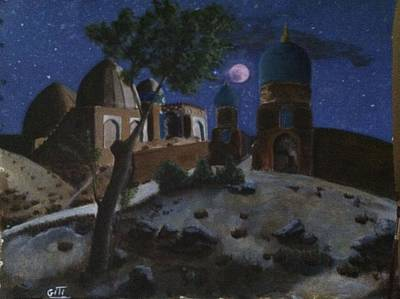 Painting - Moon Above Shrine  by Giti Ala