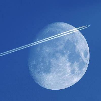 Airliners Photograph - Moon And Aeroplane Contrails by Detlev Van Ravenswaay