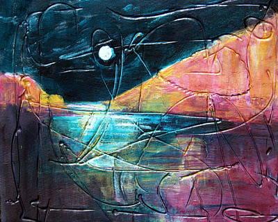 Moon And Lagune Art Print by Betty Pieper
