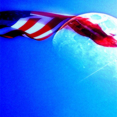 Photograph - Moon And Meteor With American Flag  by Jodie Marie Anne Richardson Traugott          aka jm-ART