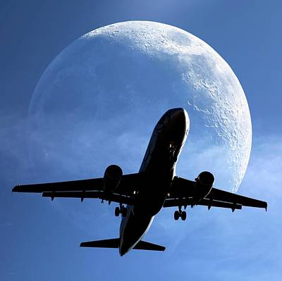 Airliners Photograph - Moon And Passenger Plane by Detlev Van Ravenswaay