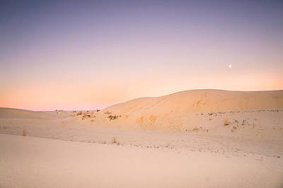 Desert Photograph - Moon And Sand Dune In Twilight by Ellie Teramoto