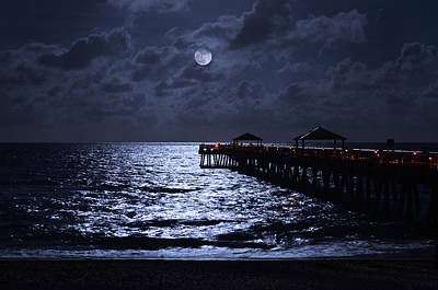 Indigo Photograph - Moon And Sea by Laura Fasulo
