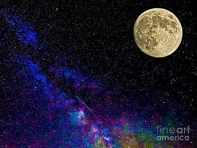 Man In The Moon Digital Art - Moon And The Milkyway Compilation Photo by Robert Neiszer