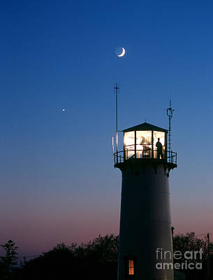 Chatham Lighthouse Photograph - Moon And Venus by Chris Cook