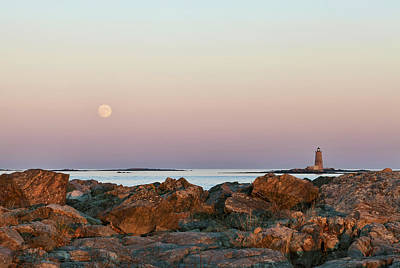 Moonlit Night Photograph - Moon And Whaleback by Eric Gendron