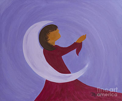 Painting - Moon Angel by Minnie Lippiatt