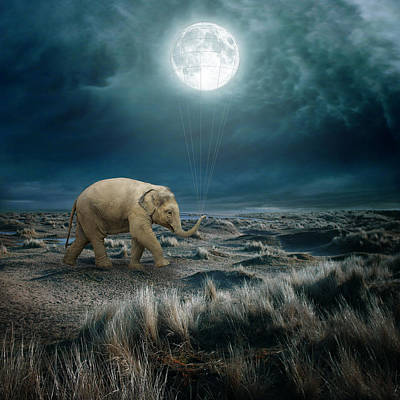 Montage Digital Art - Moon by Beata Bieniak