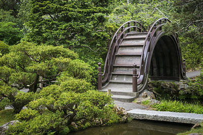 Architecture Photograph - Moon Bridge - Japanese Tea Garden by Adam Romanowicz