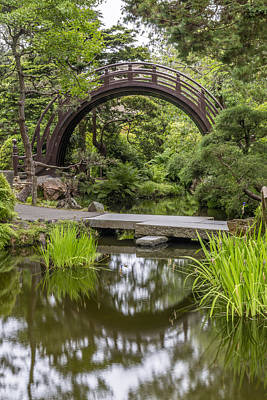 Orient Photograph - Moon Bridge Vertical - Japanese Tea Garden by Adam Romanowicz