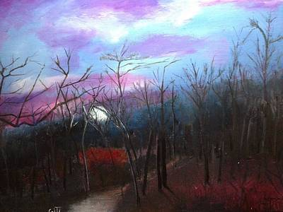 Painting - Moon Down by Giti Ala