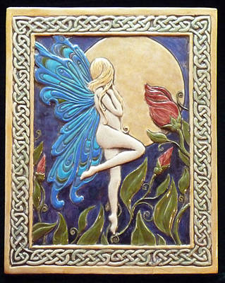 Ceramic Relief - Moon Fairy by Shannon Gresham