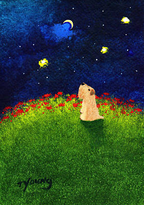 Soft Coated Wheaten Terrier Painting - Moon Gazer by Todd Young