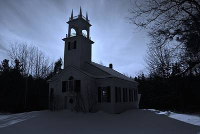 Photograph - Moon Glow N. Wilmot Church by Naturally NH