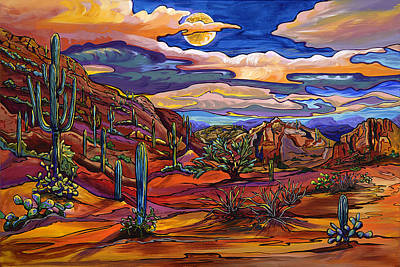 Painting - Moon Glow Over Picture Rocks by Alexandria Winslow
