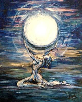 Art Print featuring the painting Moon Goddess by Karen  Ferrand Carroll