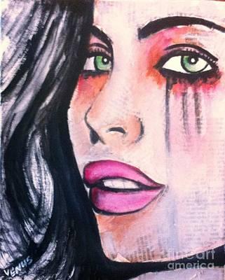 Surrealist Painter Mixed Media - Moon Goddess by Venus