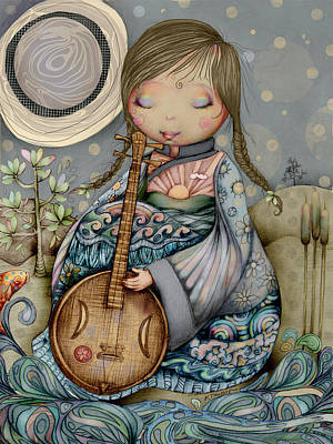 Digital Art - Moon Guitar by Karin Taylor