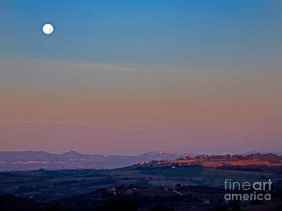 Moon Hanging Over Montepulciano, Italy Art Print by Tim Holt