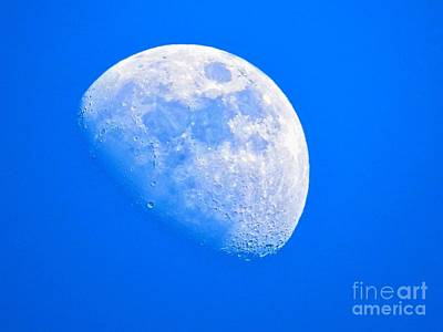 Man In The Moon Photograph - Moon In The Blue Sky. by Robert Neiszer