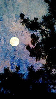Digital Art - Moon In The Pine And Abstract Blue Painting by Anita Burgermeister