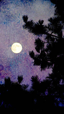 Digital Art - Moon In The Pine And Abstract Purple Painting by Anita Burgermeister
