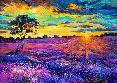 Modern Abstract Art Drawing - Lavender Field by Ivailo Nikolov