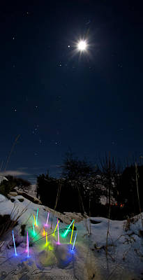 Photograph - Moon Jupiter Orion Snow And Glowstix by Beverly Cash