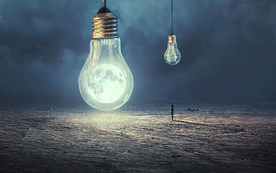 Light Bulb Wall Art - Photograph - Moon Lamp by Sulaiman Almawash