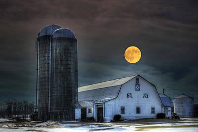Moon Light Night On The Farm Art Print by David Simons